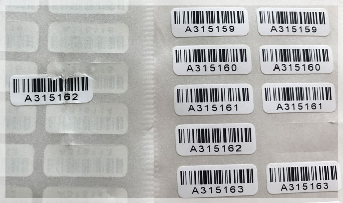 Destructible Vinyl Barcode Labels
