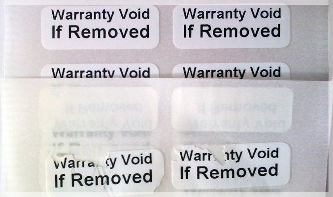Destructible Vinyl Warranty VOID Stickers