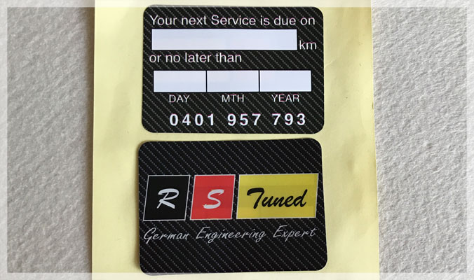 Double Sided Service Reminder Stickers