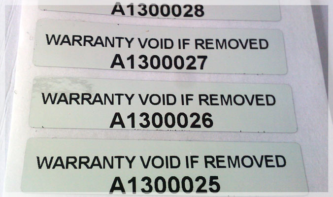 Tamper Evident Void Serial Number Stickers