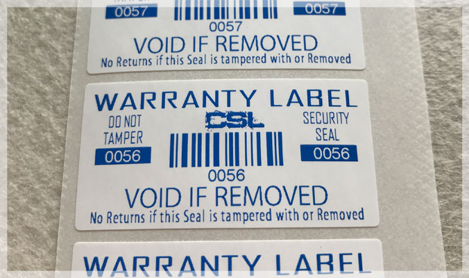 Warranty Void if Removed Destructible Vinyl Labels