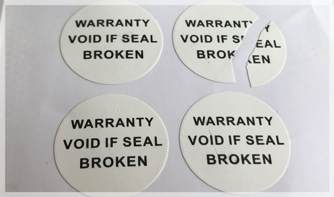 Warranty void if seal broken or removed Labels