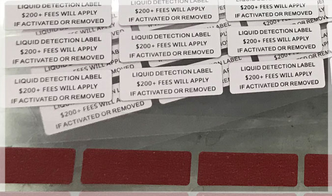 Water Detection Warranty VOID Stickers